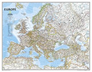 Europe Classic Enlarged Wall Map (46 x 35.75 inches) by National Geographic Maps
