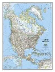 North America Classic Wall Map (23.5 x 30.25 inches) by National Geographic Maps