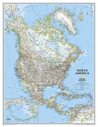 North America, Classic, Enlarged and Sleeved by National Geographic Maps