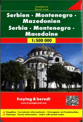 Serbia, Montenegro, and Macedonia Road Map by Freytag, Berndt und Artaria