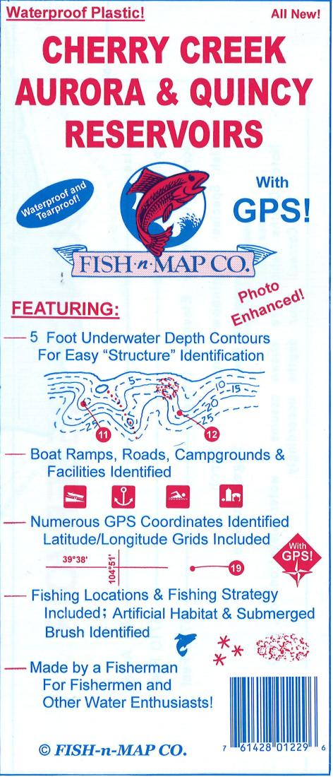 Cherry Creek, Aurora, & Quincy Reservoirs Fishing Map by Fish-n-Map Company