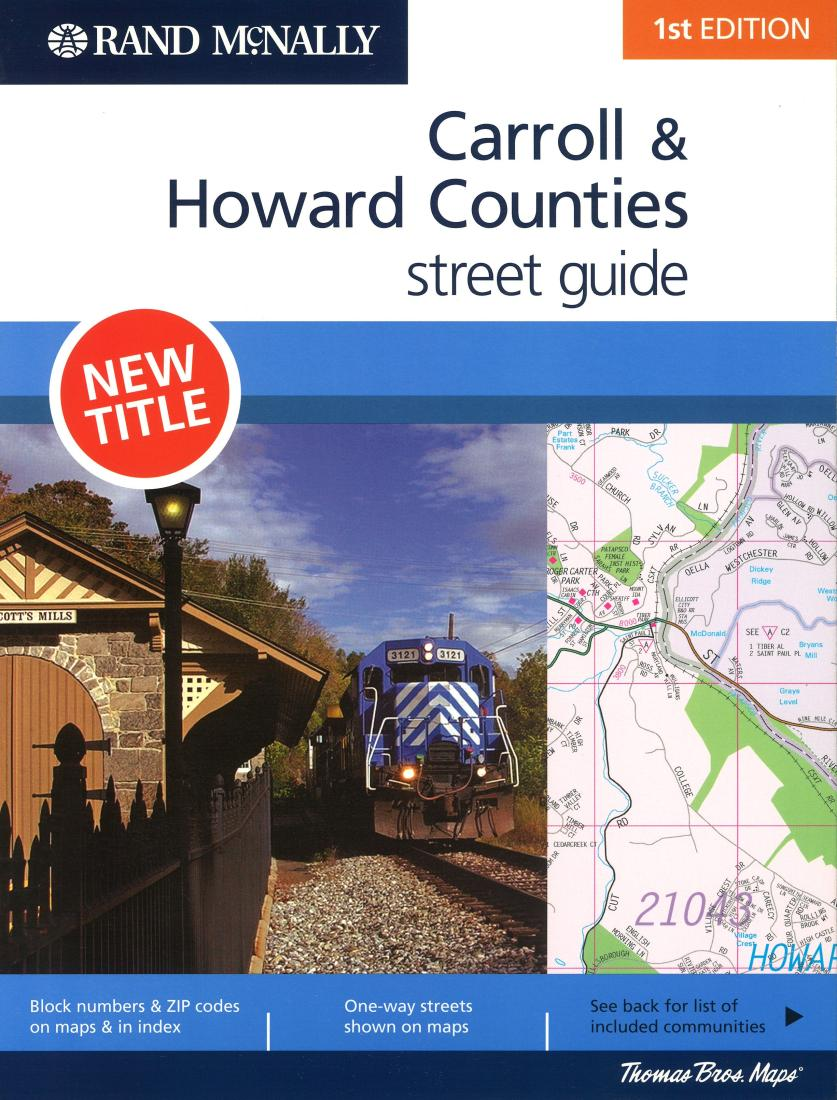 Howard County Md Zip Code Map.Carroll And Howard Counties Maryland Spiral Bound By Rand Mcnally