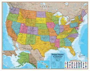 Hemispheres Blue Ocean Series United States Laminated Wall Map by Round World Products, Inc.