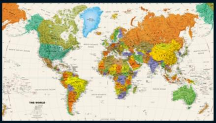 World Political Map on Tyvek by