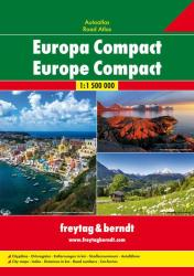 Europe, Compact Road Atlas, softcover by Freytag, Berndt und Artaria