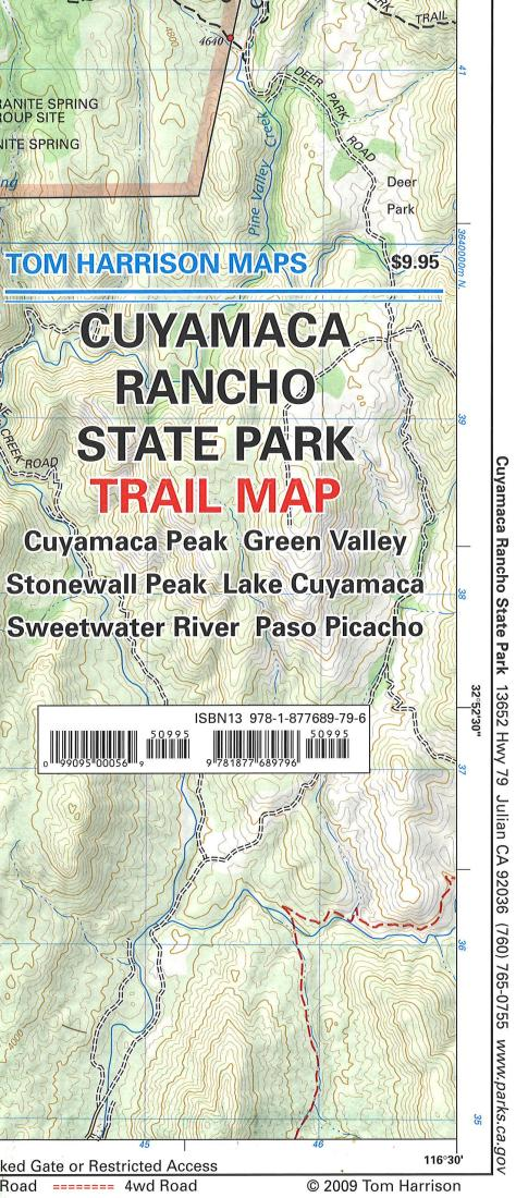 Cuyamaca Rancho State Park, California by Tom Harrison Maps