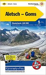 Aletsch - Lotschental - Goms : Switzerland Hiking Map #25 by Kummerly + Frey