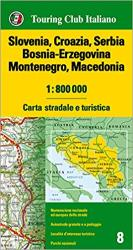 Slovenia, Croatia, Serbia, Bosnia-Erzegovina, Montenegro, and Macedonia Road and Tourist Map by Touring Club Italiano