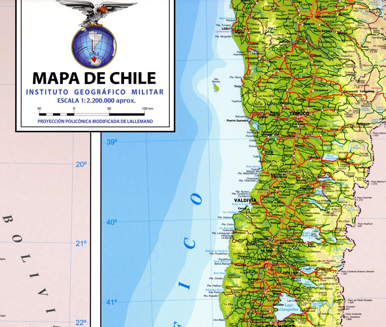 De Chile - Chile physical map