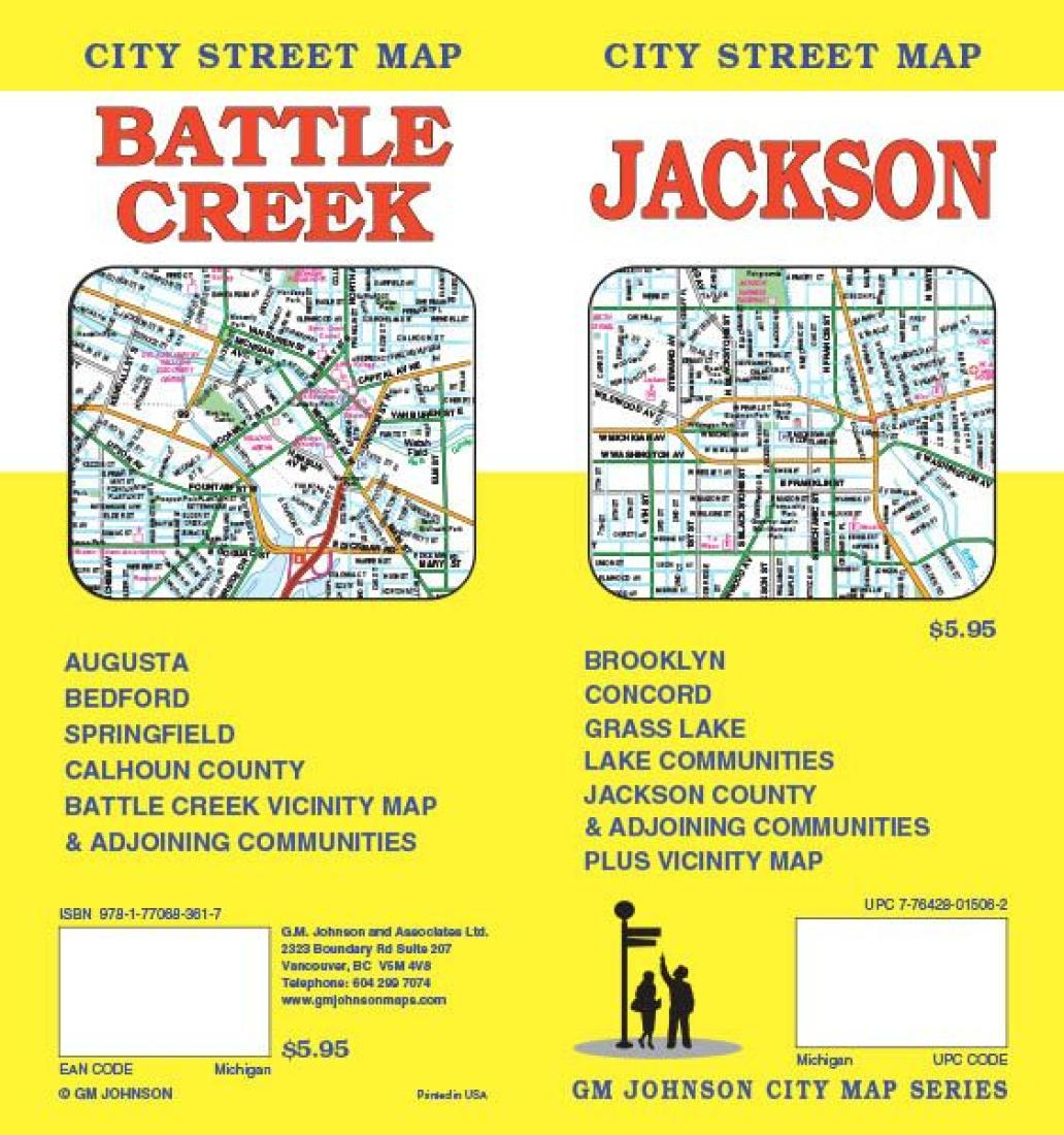 Creek Jackson Michigan Street Map by GM Johnson