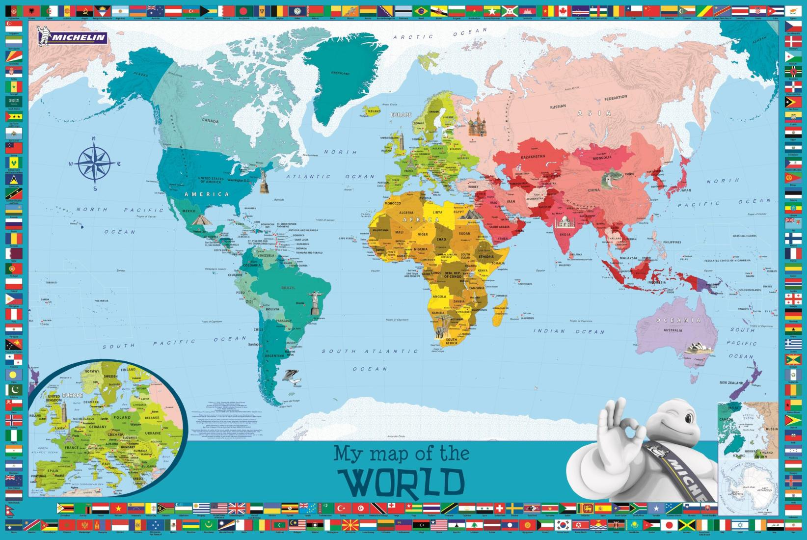 World Wall Map Childrens By Michelin Travel Partner - Childrens wall map