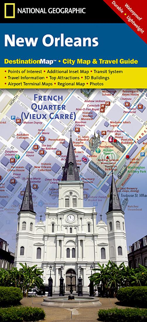 Geographic Map Of Louisiana.New Orleans Louisiana Destinationmap By National Geographic Maps