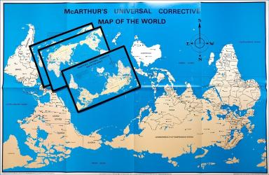 """McArthur's Universal Corrective Map of the World - 23"""" x 35"""" - paper folded with magnet and postcards by ODT, Inc."""