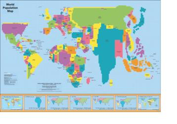 """2015 World Population Map - Laminated - 35"""" x 50"""" by ODT, Inc."""