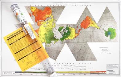 """Buckminister Fuller Raleigh Edition Dymaxion Map, 22"""" x 34"""" Paper folded map with 1 page explanation and fridge magnet by ODT, Inc."""