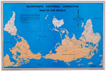 McArthur's Universal Corrective Map of the World Postcard by ODT, Inc.