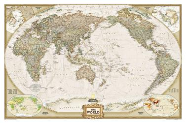 World, Executive, Pacific-Centered, Sleeved by National Geographic Maps