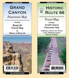 Grand Canyon Panoramic / Route 66 Travel Map by GM Johnson
