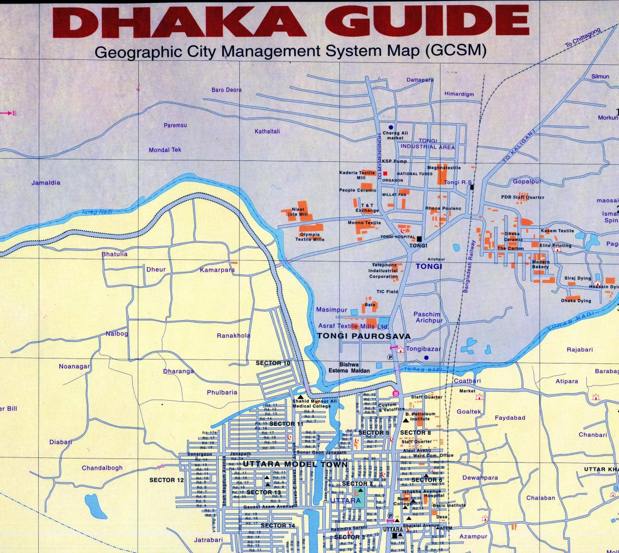 Dhaka Guide : Geographic management system map on