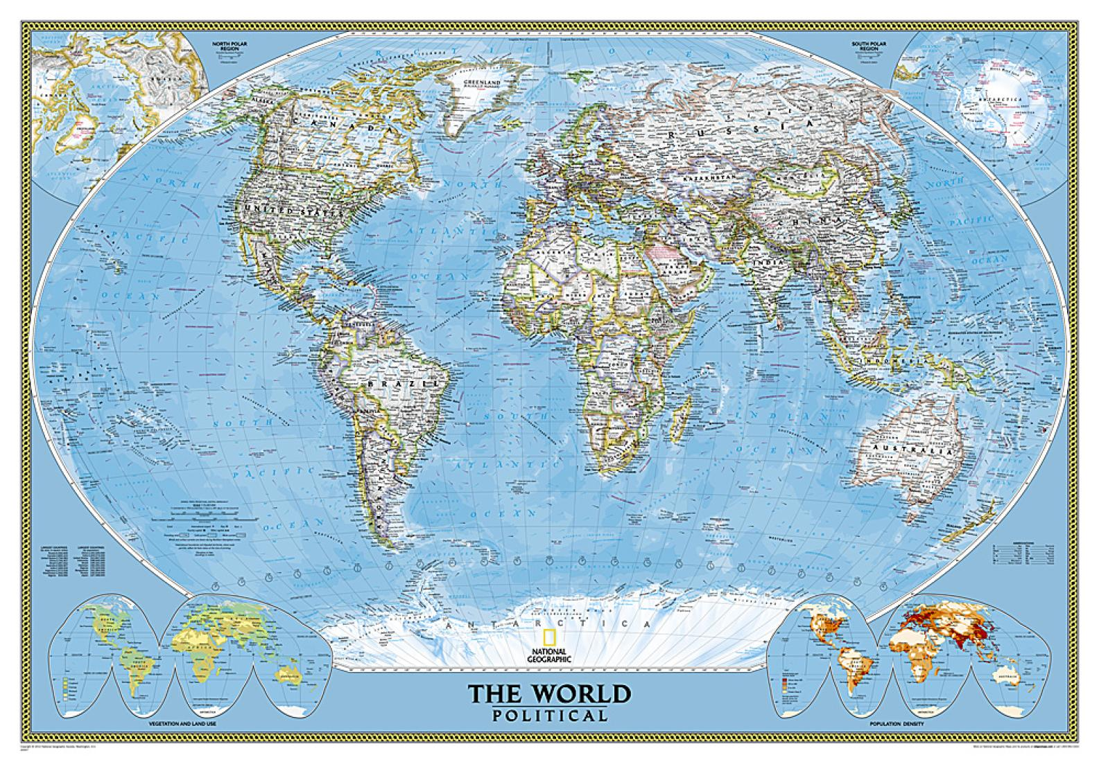 World Classic Enlarged and Sleeved by National Geographic Maps